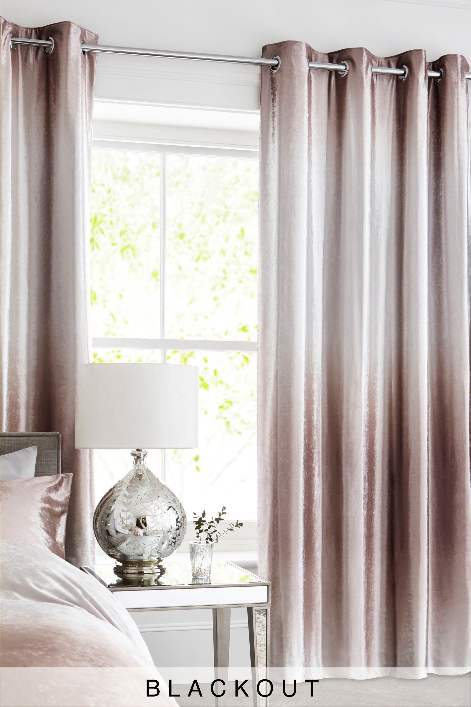 Next Ombre Velvet Blackout Lined Eyelet Curtains Gold With
