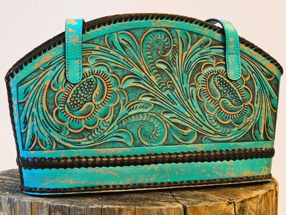 Purse Fl Leather Turquoise