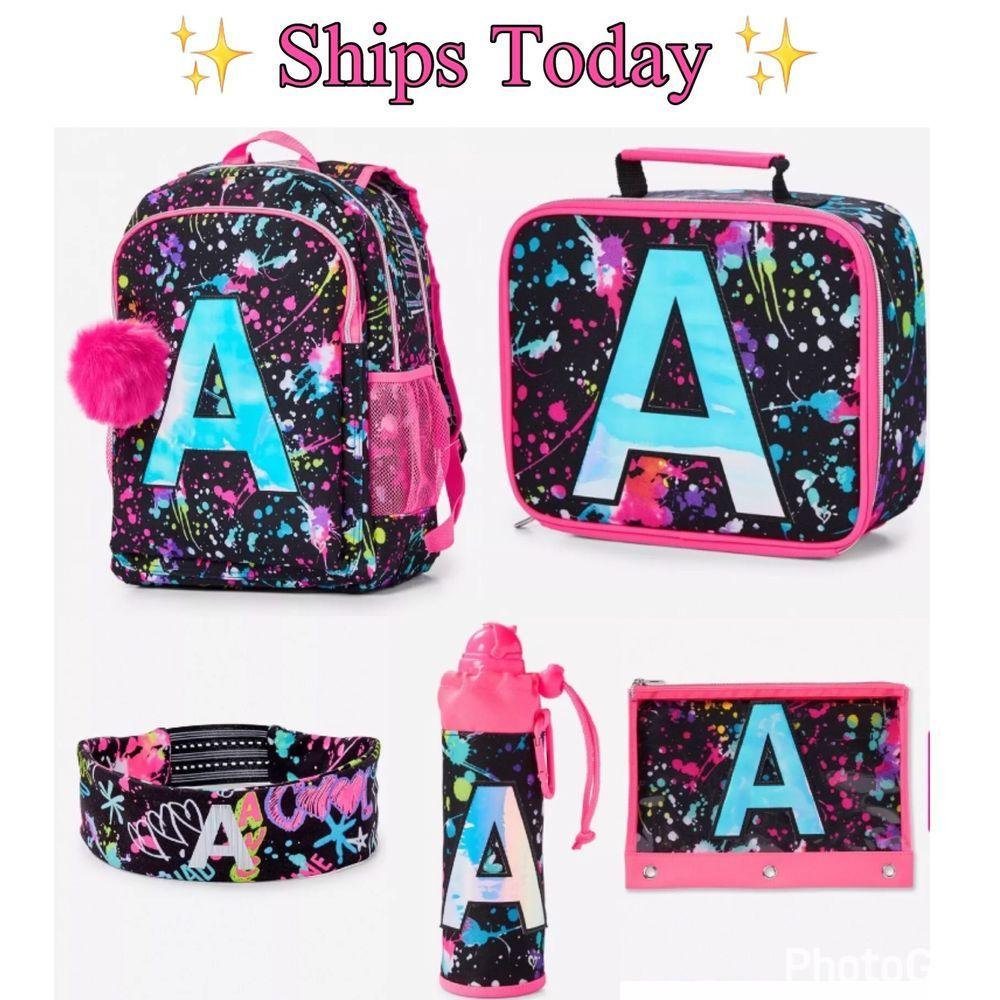 Black Lace Print Design Backpack and Pencil Case Set