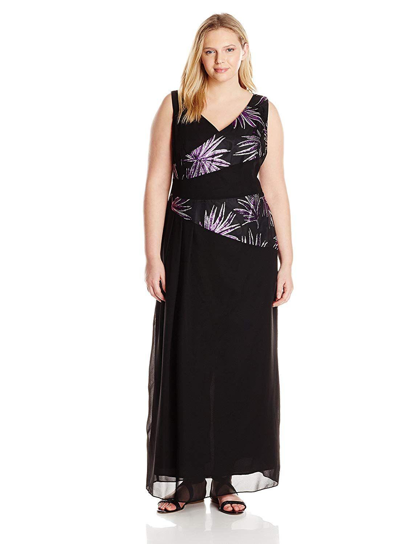 Le Bos Women\'s Plus-Size Glitter Trim Long Jacket and Dress Set ...