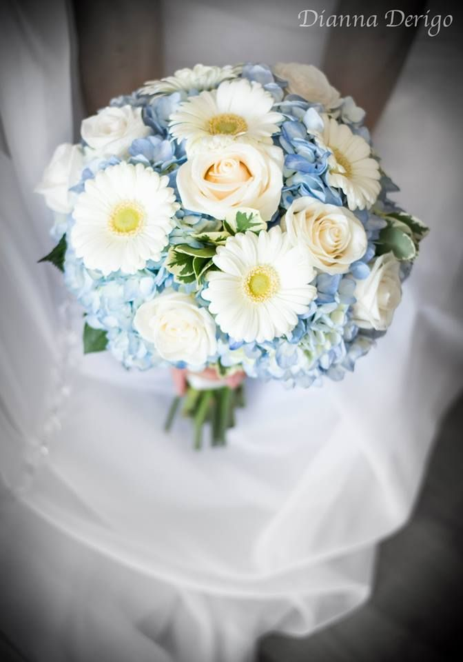 Pale Blue Hydrangea With Ivory Roses And White Gerbera Daisy