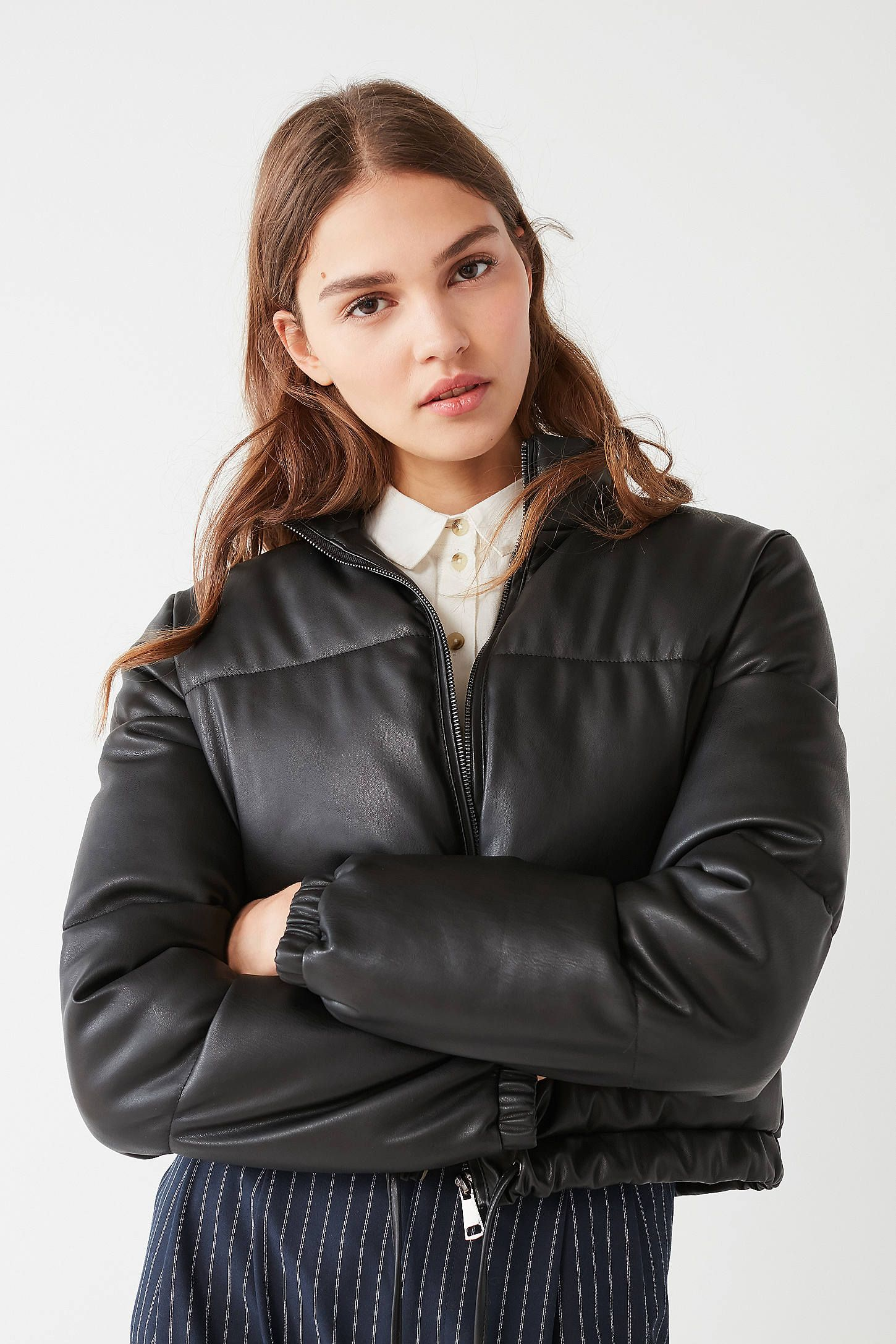 Shop UO Faux Leather Cropped Puffer Jacket at Urban