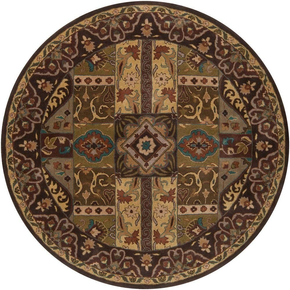 Artistic Weavers Justica Dark Brown 9 Ft In X Round Area Rug 99rd The Home Depot