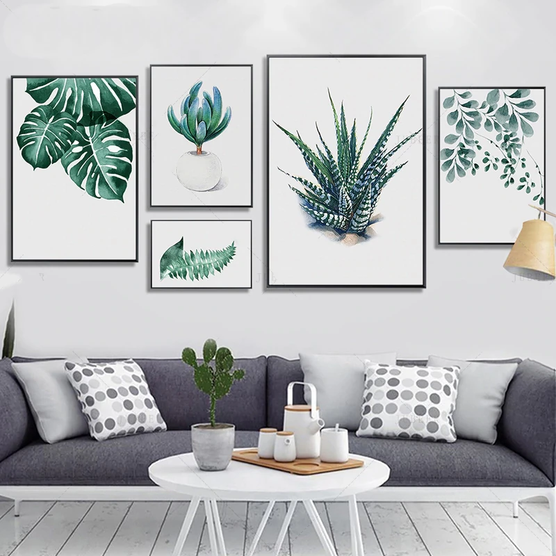 Tropical Houseplants Wall Art Minimalist Nordic Style