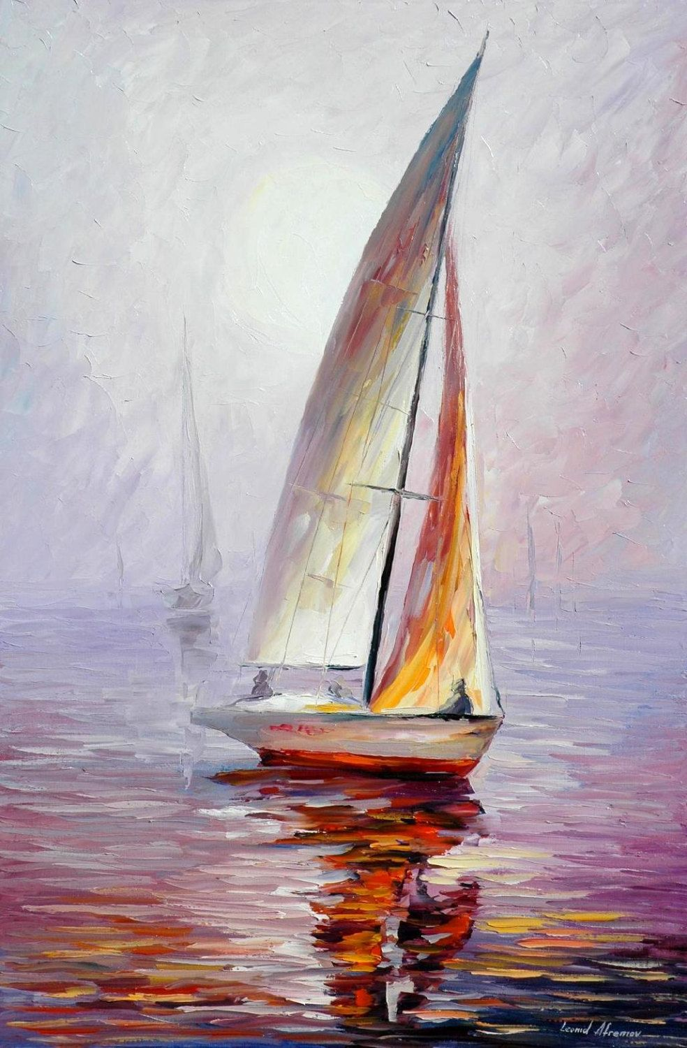 Sailboat Wall Art Dream Yacht Palette Knife Sailing Oil