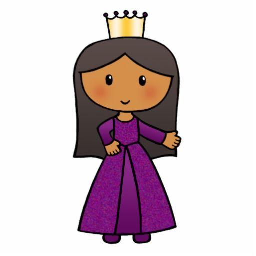 Cartoon Clip Art Cute Princess with Tiara Standing Photo Sculpture ...