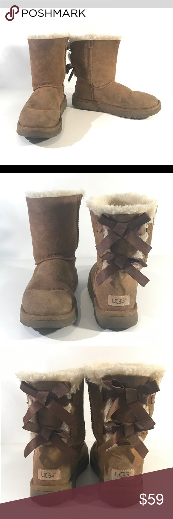 Ugg Australia Womens 6 Bailey Bow Ii Boots 1016225 Broken In Good Condition No Holes Rips Or Stains There Are Scuff Marks Here And Boots Uggs Womens Uggs