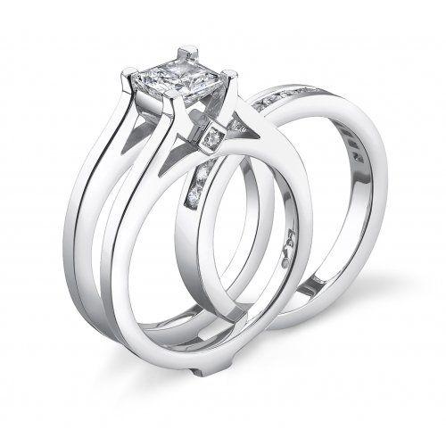 Sliding Bridge Diamond wedding sets, Engagement ring