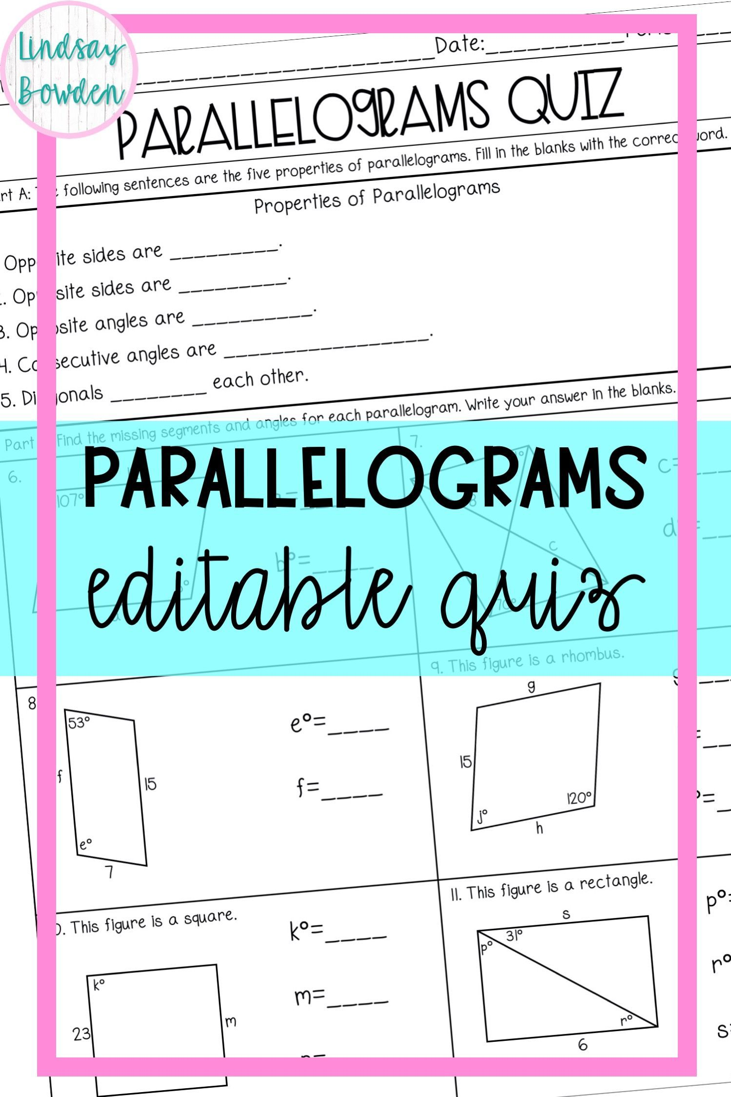Parallelograms Quiz in 2020 Parallelogram, Math