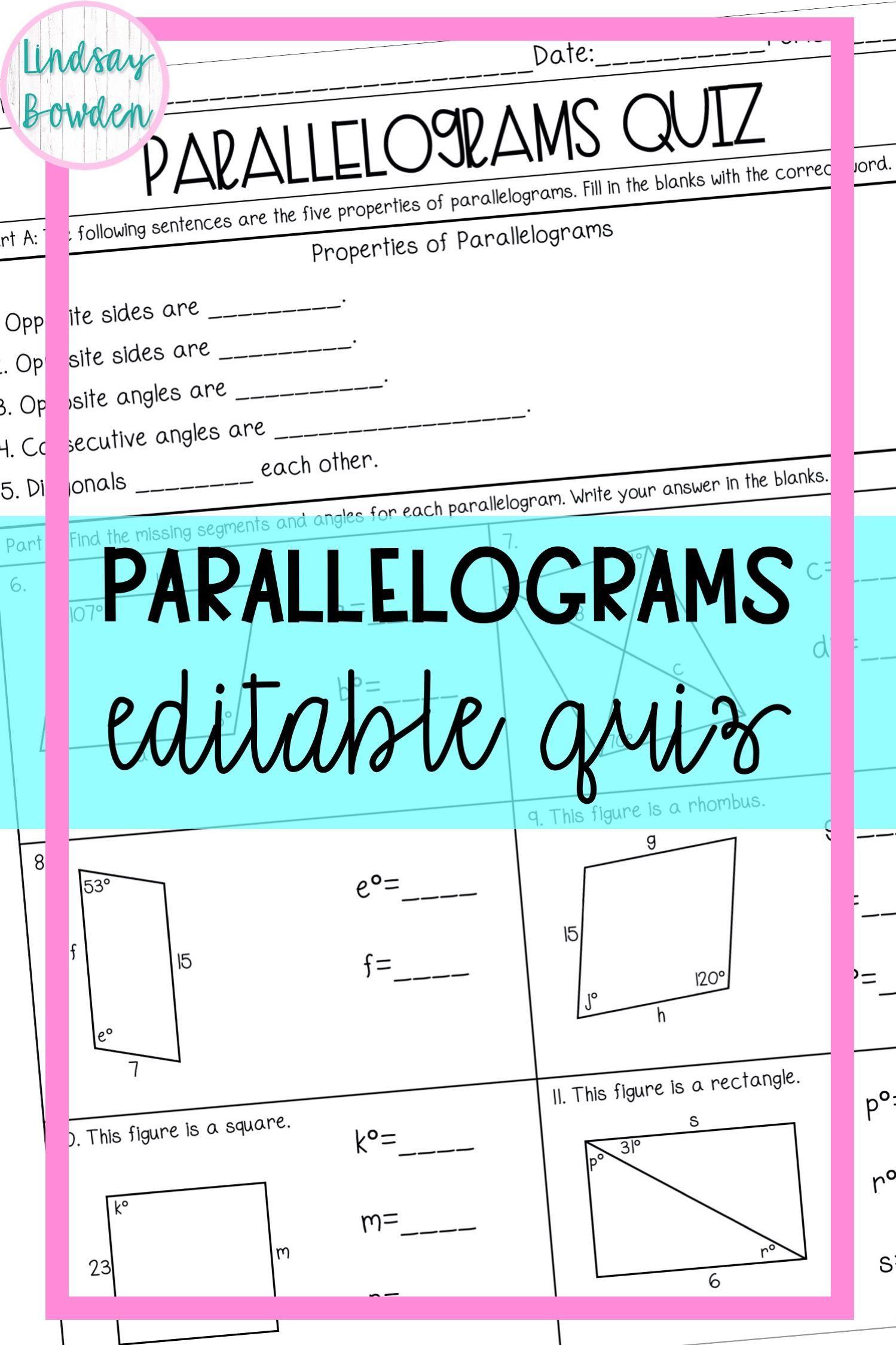 Parallelograms Quiz In