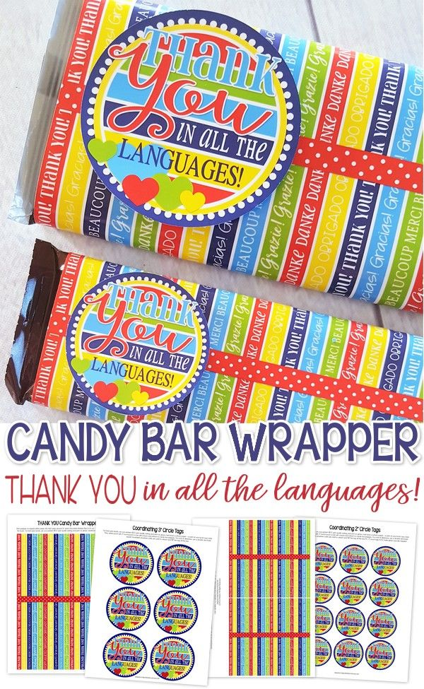 Super Cute THANK YOU Printable!! Printable candy bar wrapper to say thank you in all the languages! thank you gift idea favor #mycomputerismycanvas  sc 1 st  Pinterest & THANK YOU in ALL the Languages - New Candy Bar Wrapper! | Candy ...