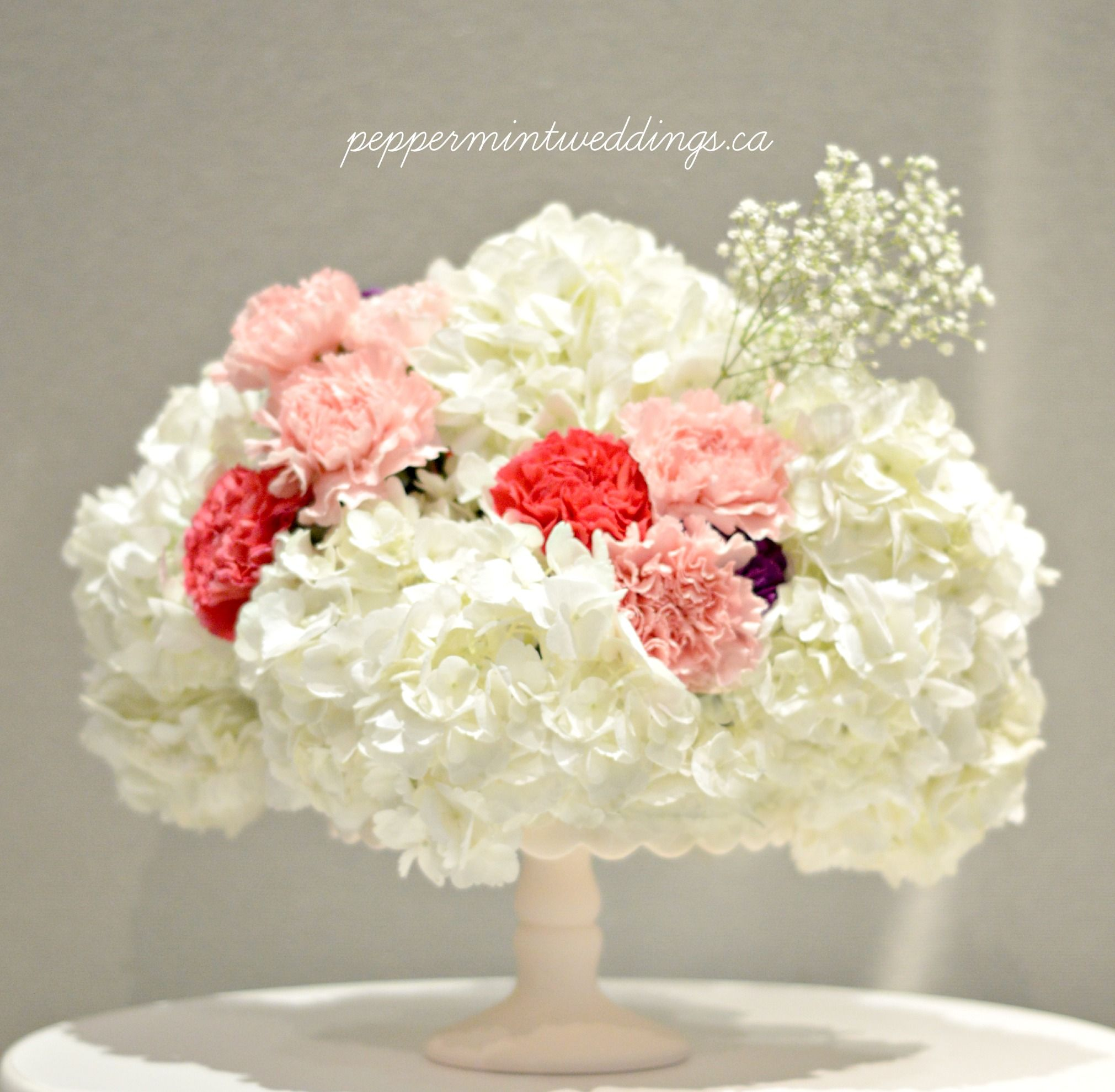Hydrangeas and carnations with baby\'s breath insert. Short ...