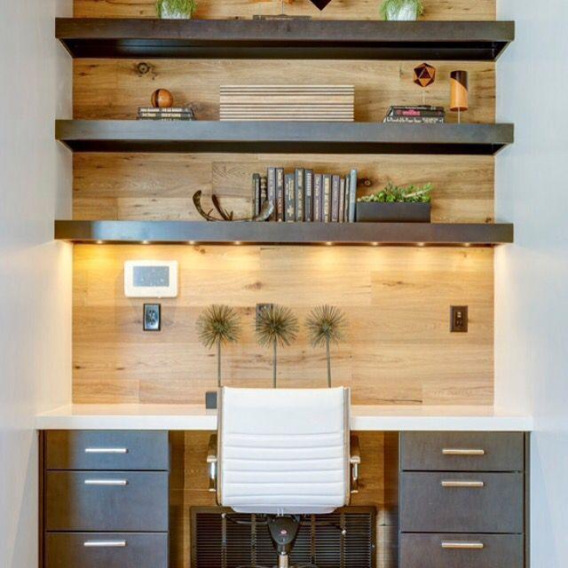 Photo of Et innebygd kontorpult og arbeidsområde trenger ikke å ta mye plass for å være veldig …
