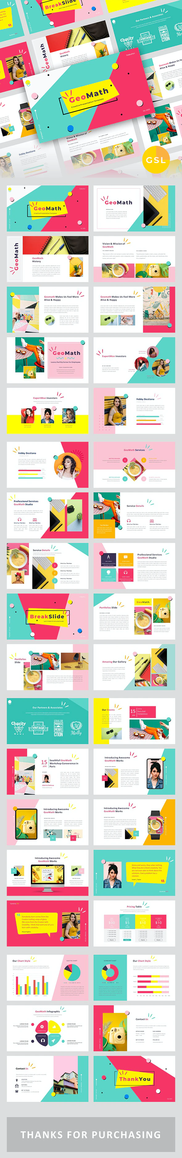 GeoMath – Creative Pop Art Business Google Slides Template by Juday_Design