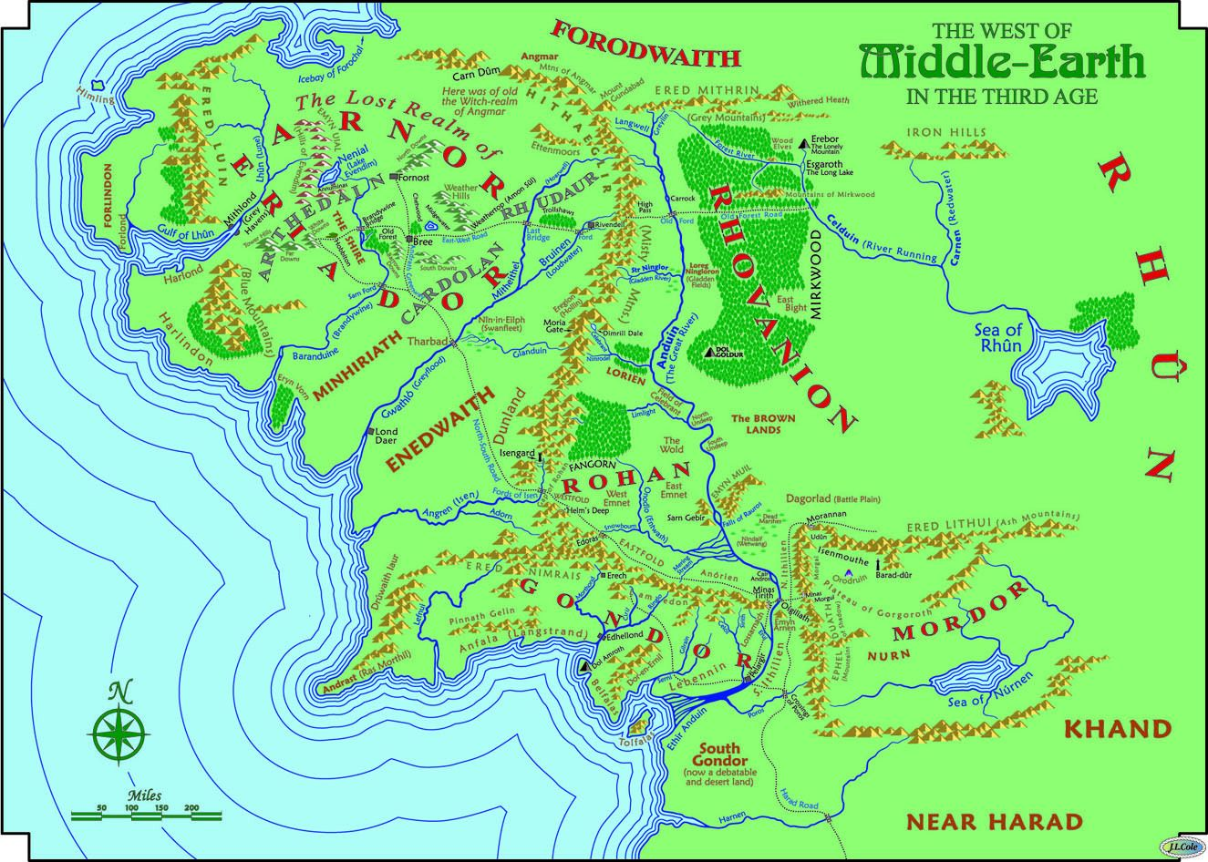 This is a really good map of middle earth. Especially for river