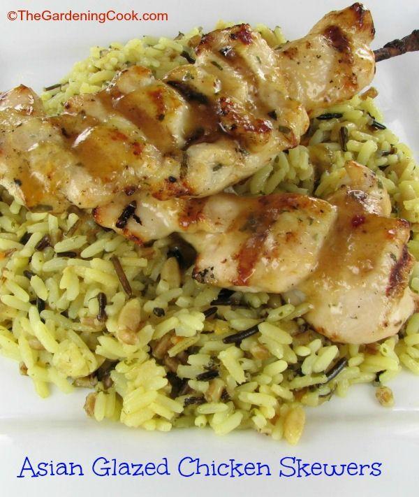 Asian Glazed Chicken Skewers ~ The Gardening Cook
