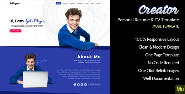 Creator Personal Muse Template Template - Personal landing page template