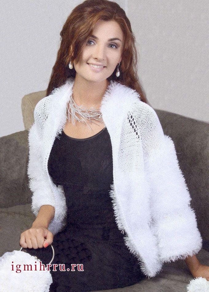 нарядный пушистый жакет белого цвета вязание спицами вязание