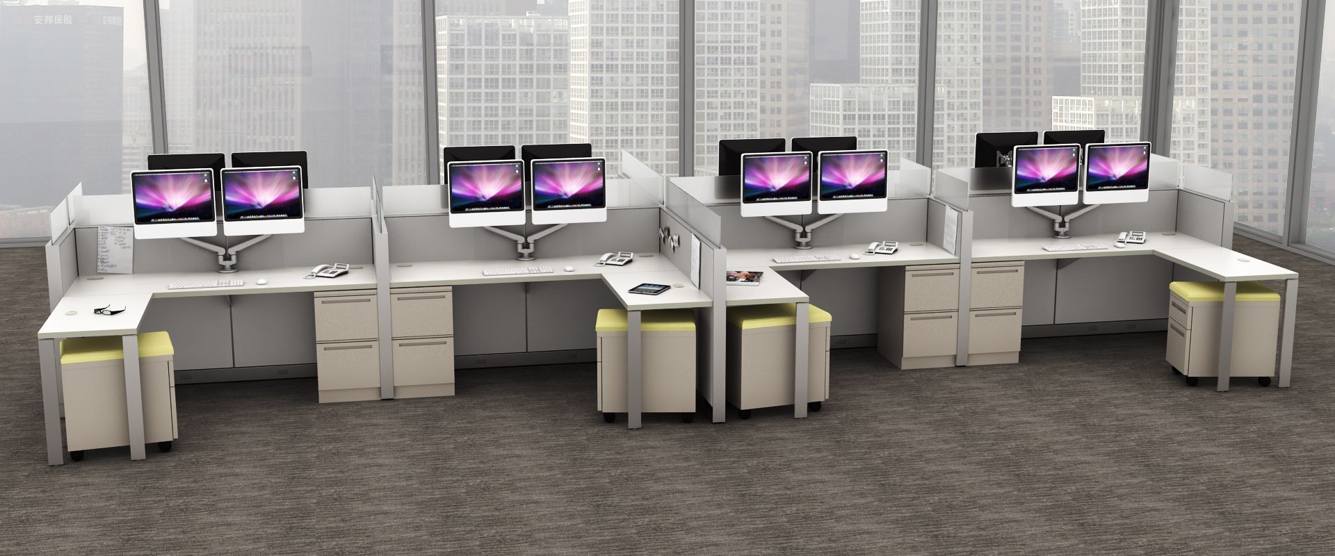 Terrace Reach 4x4 Workstations. Mobile box/file pedestal with cushion top. Shown with double monitor setup.