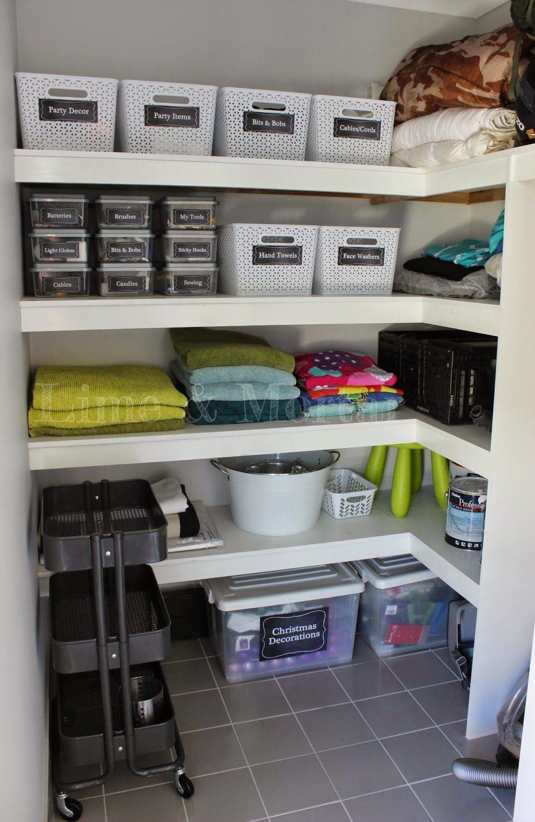 Lime Mortar Walk In Linen Get Organised Cupboards Organization Linen Closet Organization Diy Bedroom Storage