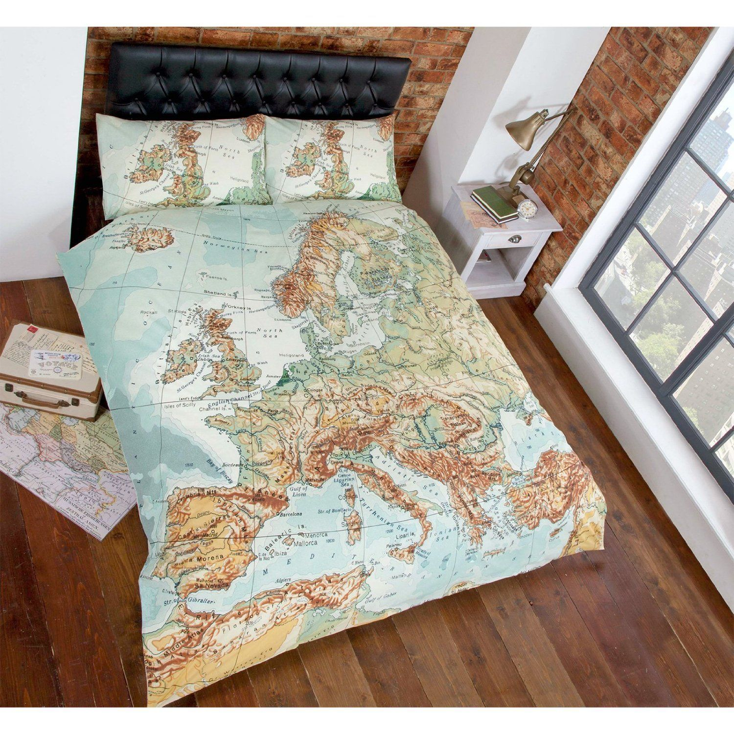 Just contempo vintage map duvet cover set king green amazon vintage world map duvet cover reversible bedding natural blue green bed set gumiabroncs Gallery