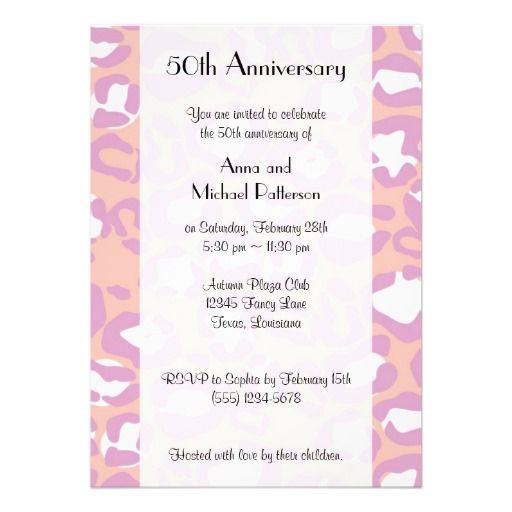 Anniversary - Animal Print, Leopard - Pink Purple Custom Announcement