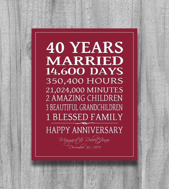 Marriage Anniversary Quotes For Couple: RUBY 4Oth Anniversary Gift Personalized By