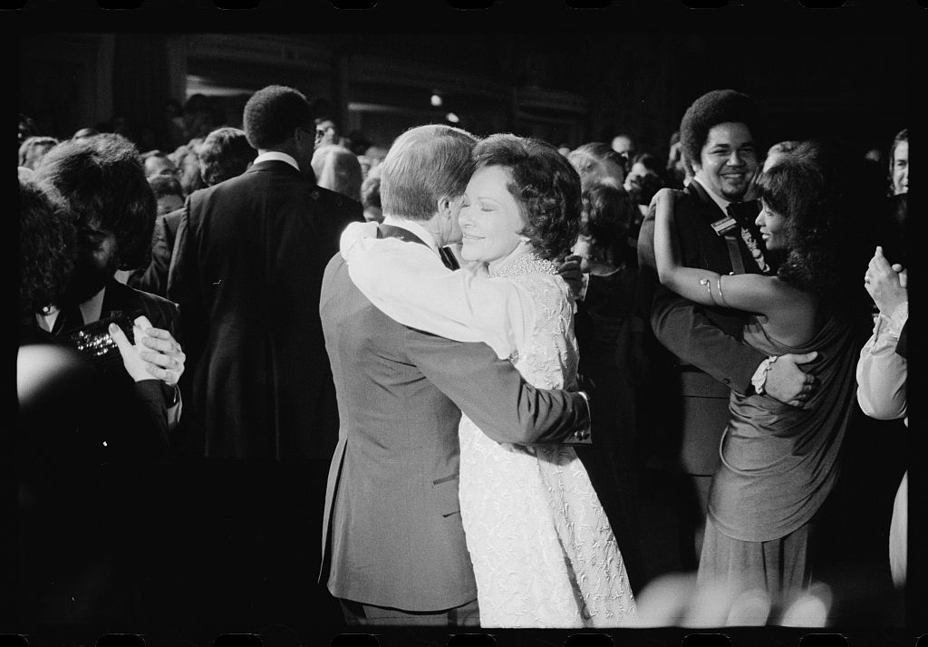 President Jimmy Carter and First Lady Rosalynn Carter dancing at an inaugural ball, Washington, D.C.]