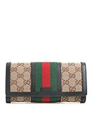 852d9491537 GUCCI-Gucci Web Beige Gg Canvas Brown leather Long Wallet Zip Around ...
