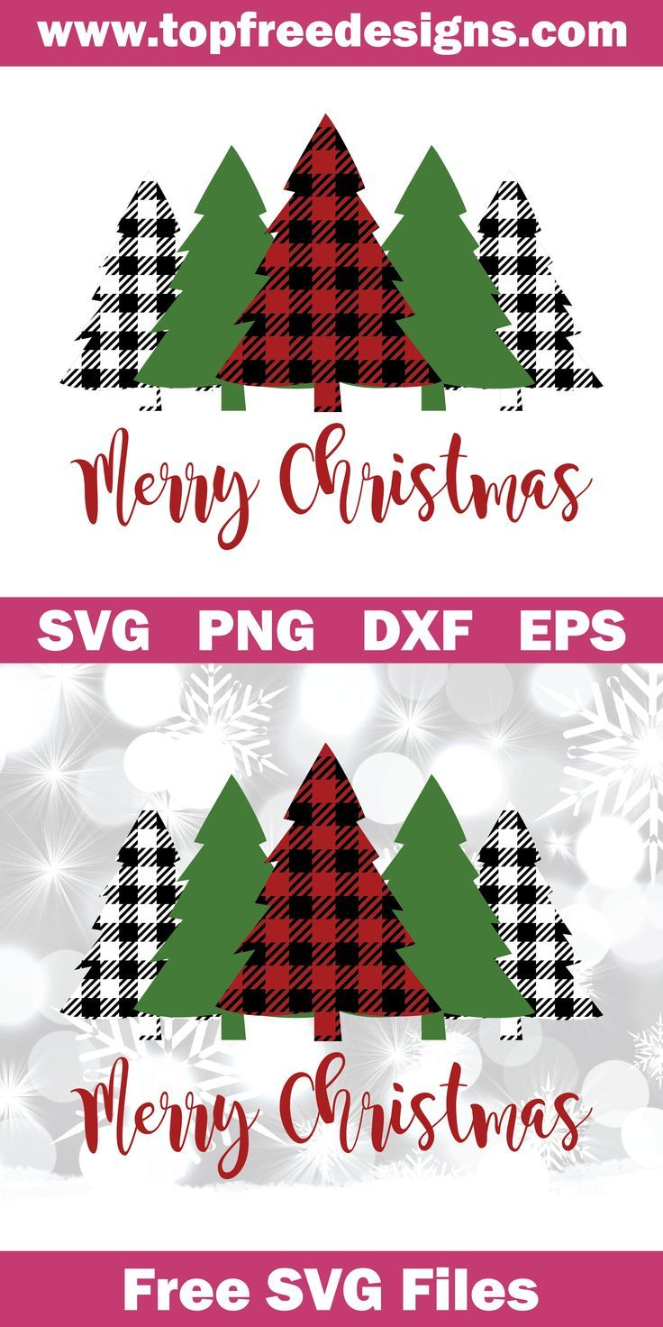 Download Free Merry Christmas Buffalo Plaid Trees | Cricut ...