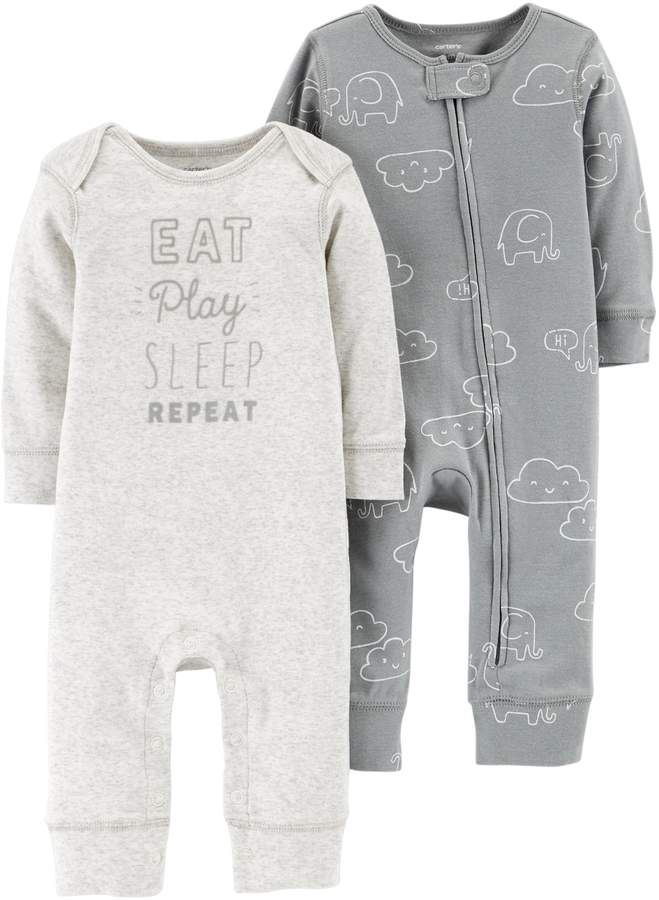 0f82134ccf2e Carter s Baby 2-Pack Graphic   Cloud Print Coveralls