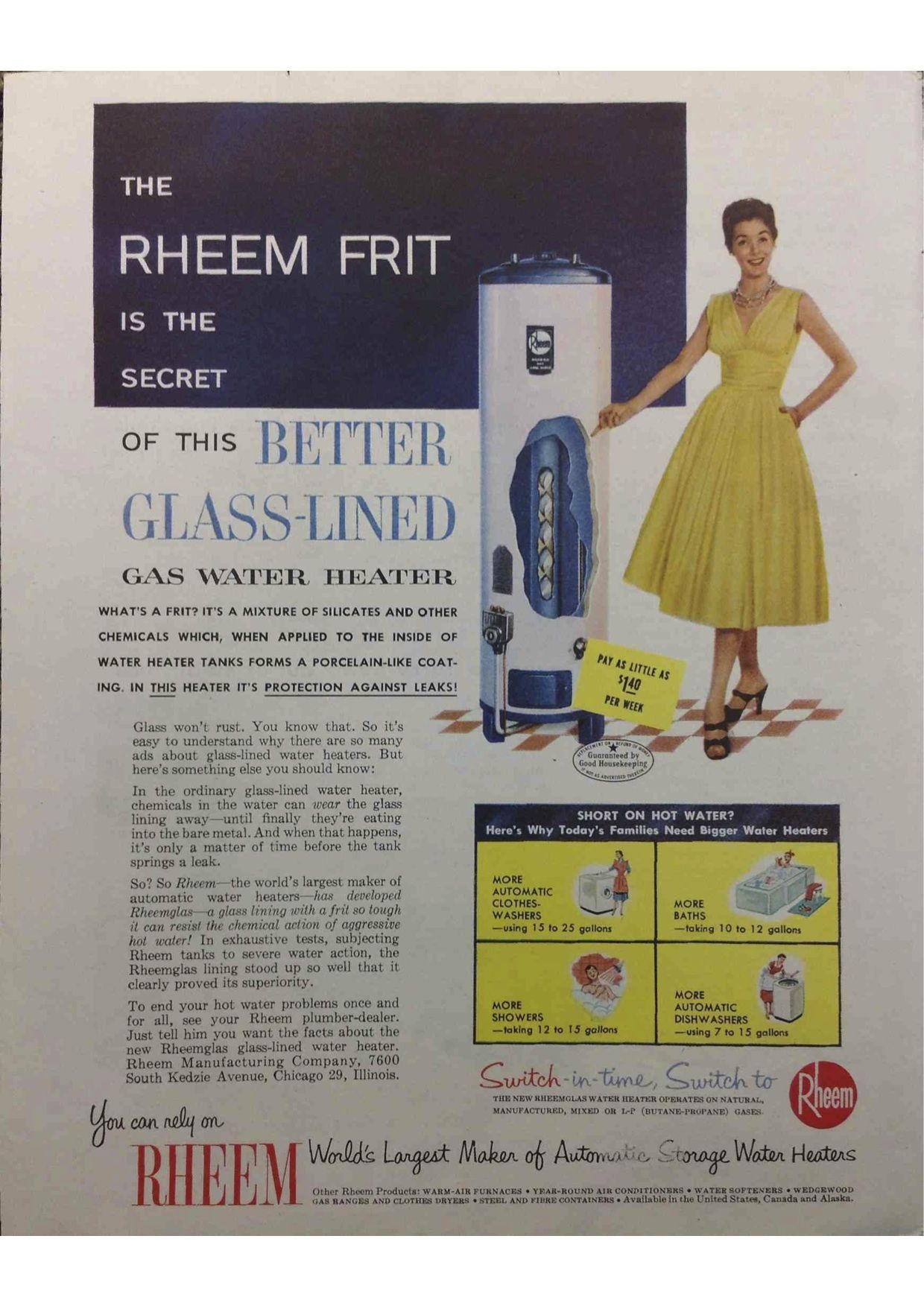 1955 Rheem Gas Water Heater The Rheem Frit Enough Water To Do Laundry Bathe And Do The Dishes Gas Water Heater Water Heater Heater