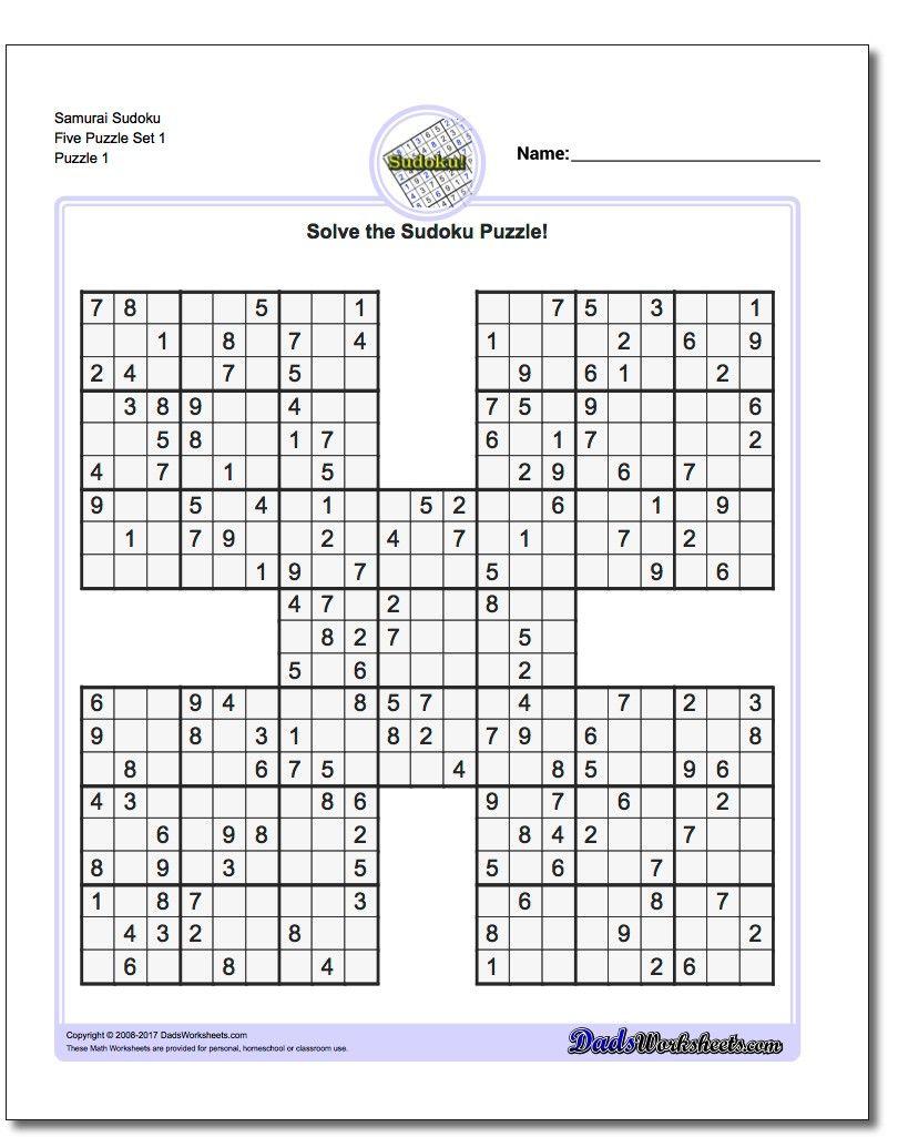 Printable Sudoku Puzzle Samurai Five Puzzle Set 1