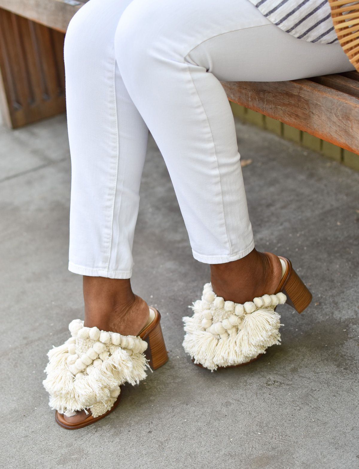 Summer Mules. Pom Poms and Tassels from