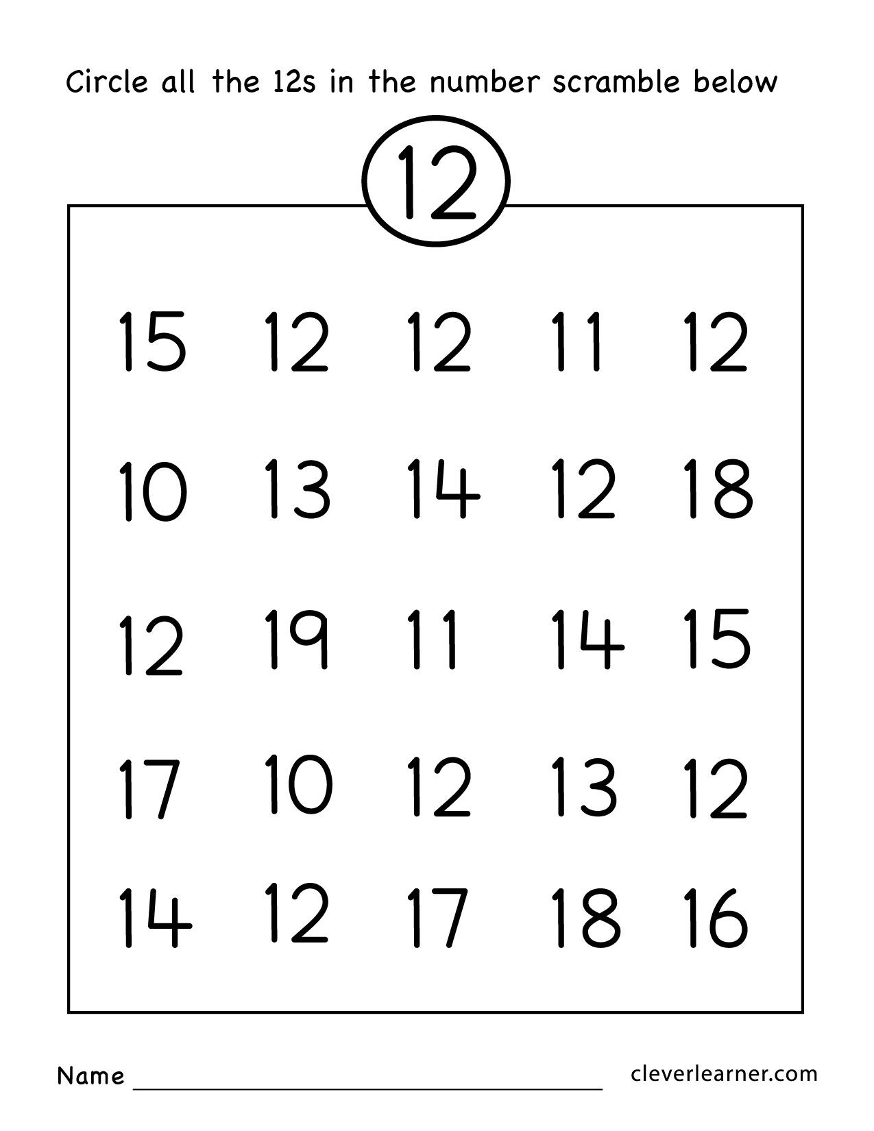 Preschool Worksheets Number 12