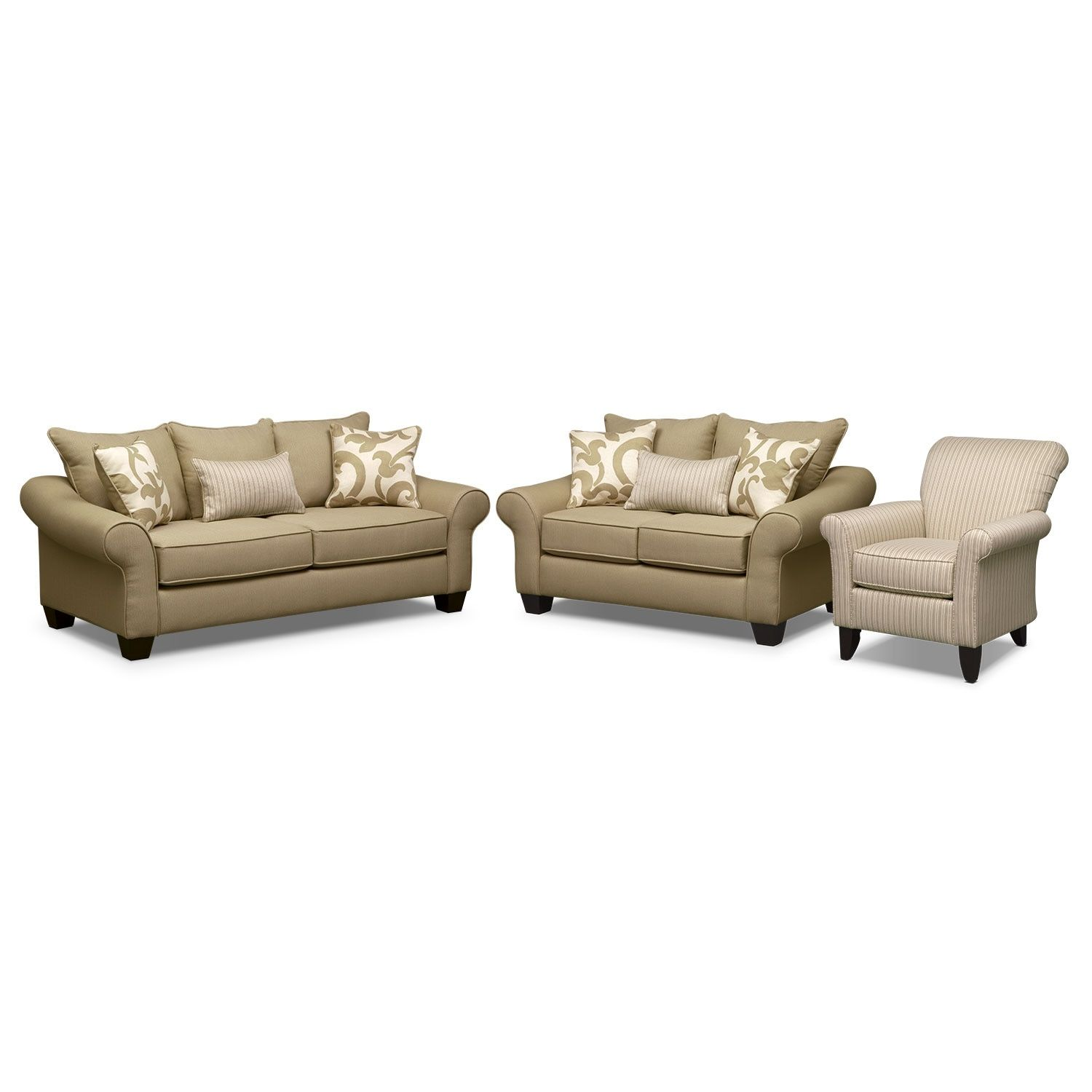 Colette Full Memory Foam Sleeper Sofa, Loveseat And Accent Chair Set   Khaki