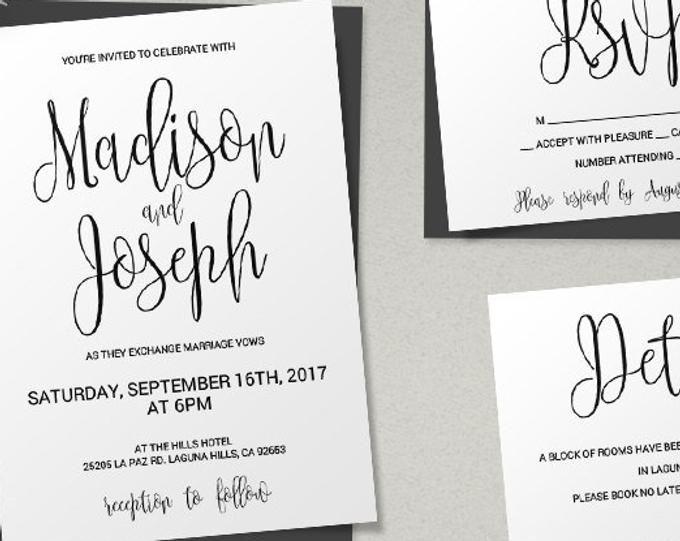 Printable Wedding Invitation Winter Fl