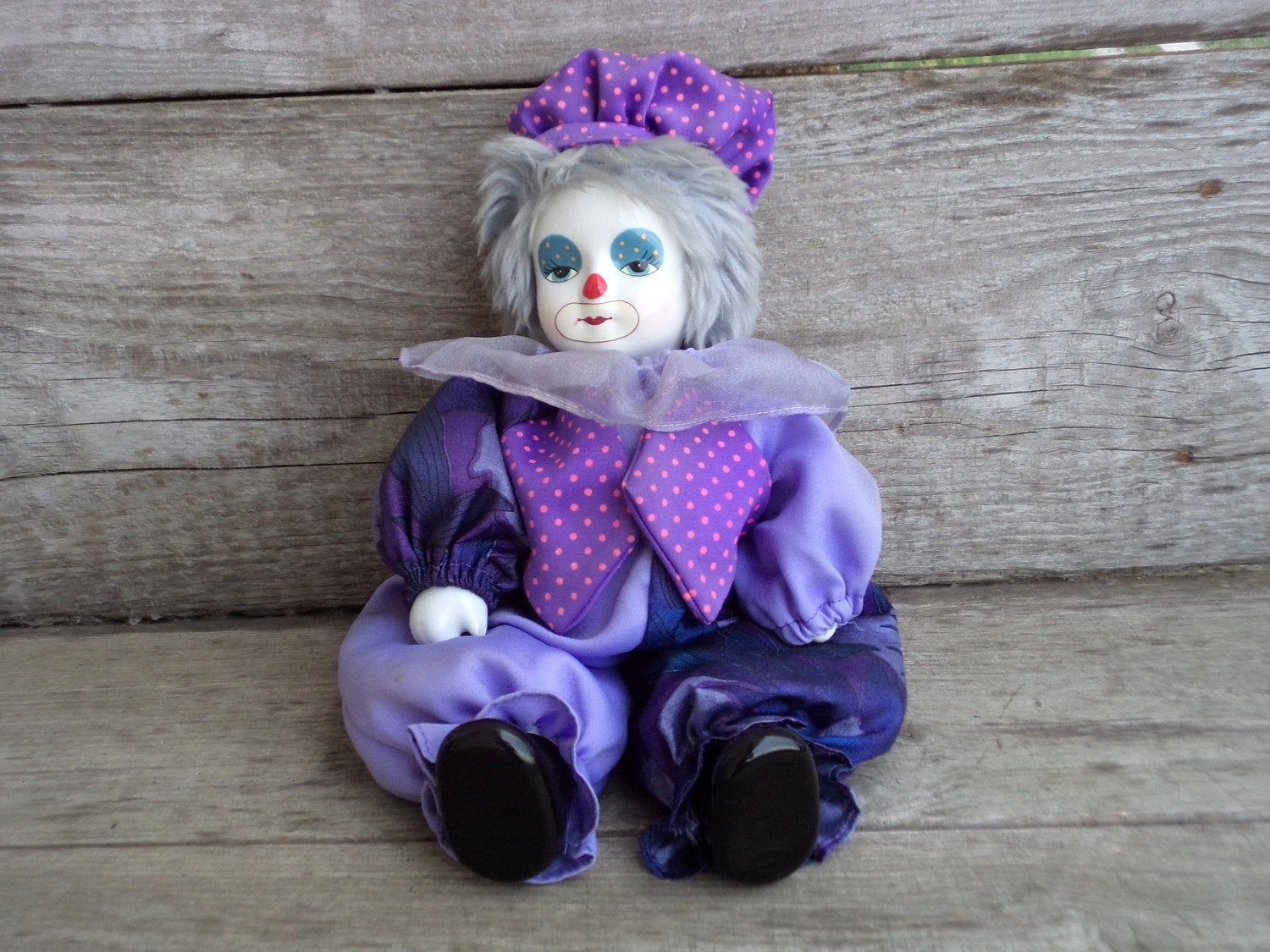 VINTAGE SMALL CLOWN DOLL WITH PORCELAIN HEAD SAND FILLED HAND PAINTED 1970s /80s | eBay