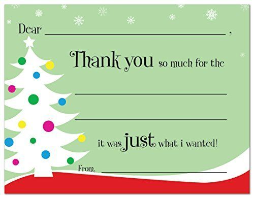 20 cnt Decorated Tree Kids Christmas Fill-in Thank You Cards and
