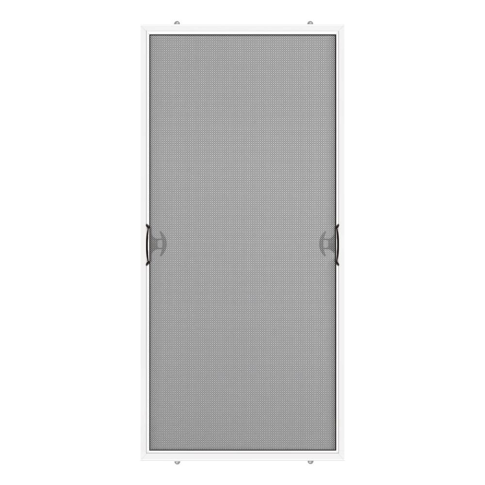 Dusco 29 75 In X 76 75 In White Reversible Patio Screen Door With Handles And Latch 381007 029 076 The Home Depot Patio Screen Door Screen Door Sliding Screen Doors