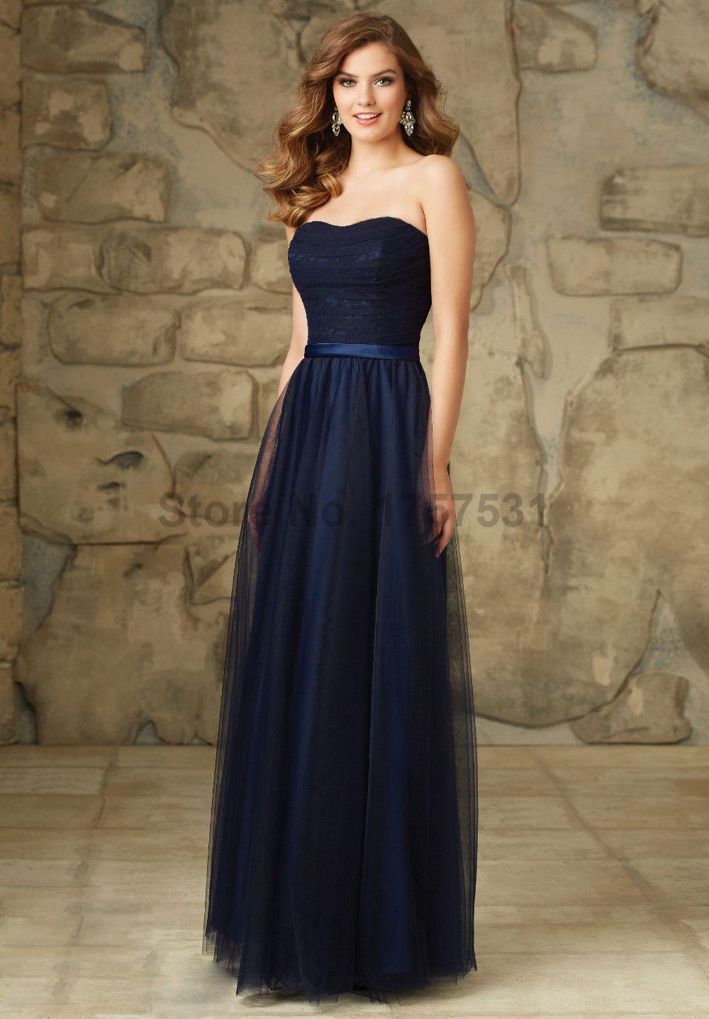 8fb4bcf0d Cheap 2016 Vestido Madrinha De Casamento azul marino Sweetheart encaje  Vestido De dama De banquete De boda vestidos largos De tul