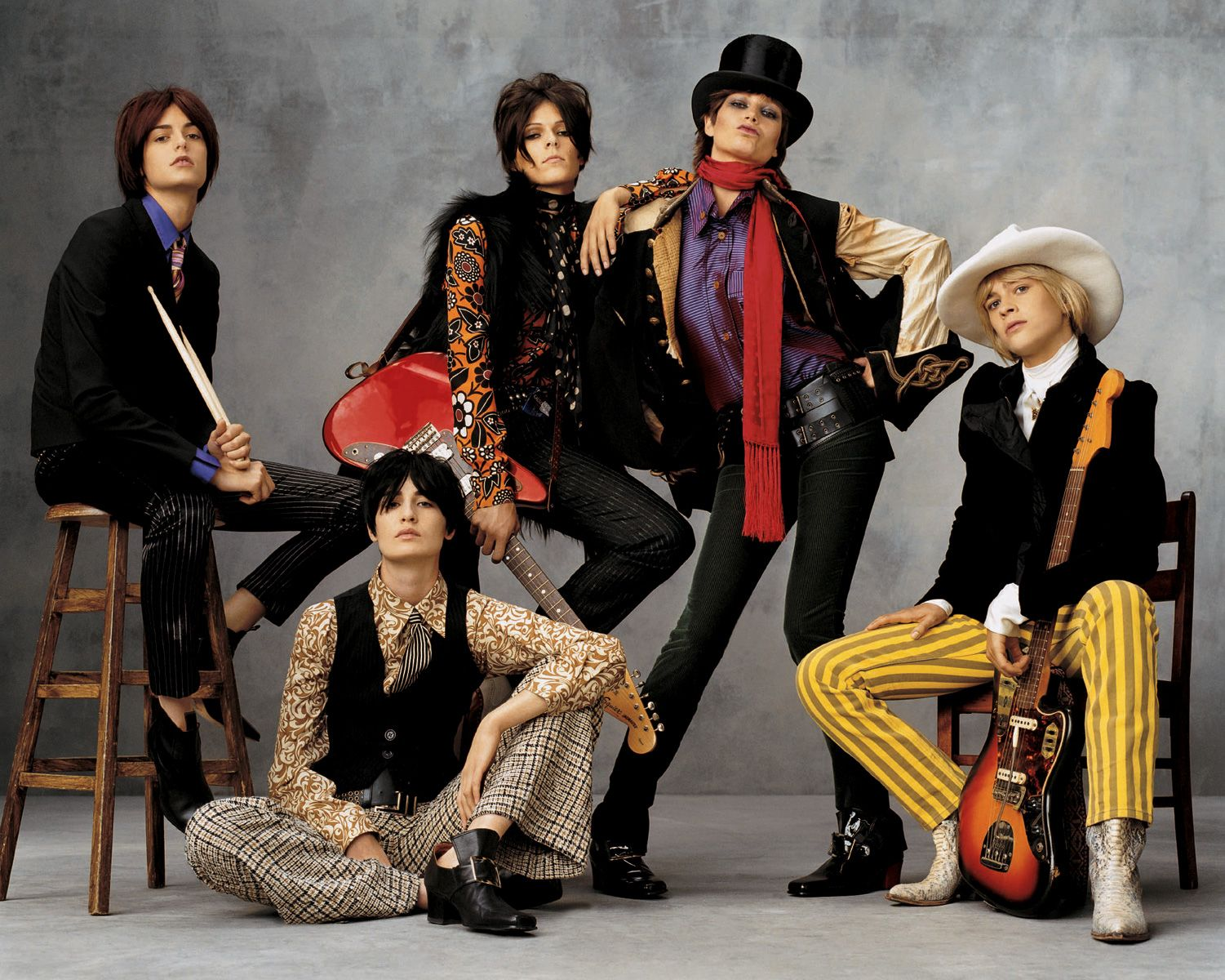 Jacquetta Wheeler, Erin O'Connor, Eleonora Bose, Bridget Hall, and An Oost rocked out as the Rolling Stones.
