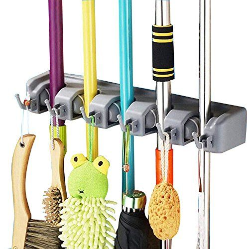 HONGJING Mop and Broom Holder Organizer with 5 Ball Slots and 6 Hooks Wall Mounted Hanger for HomeClosetGarage and Shed