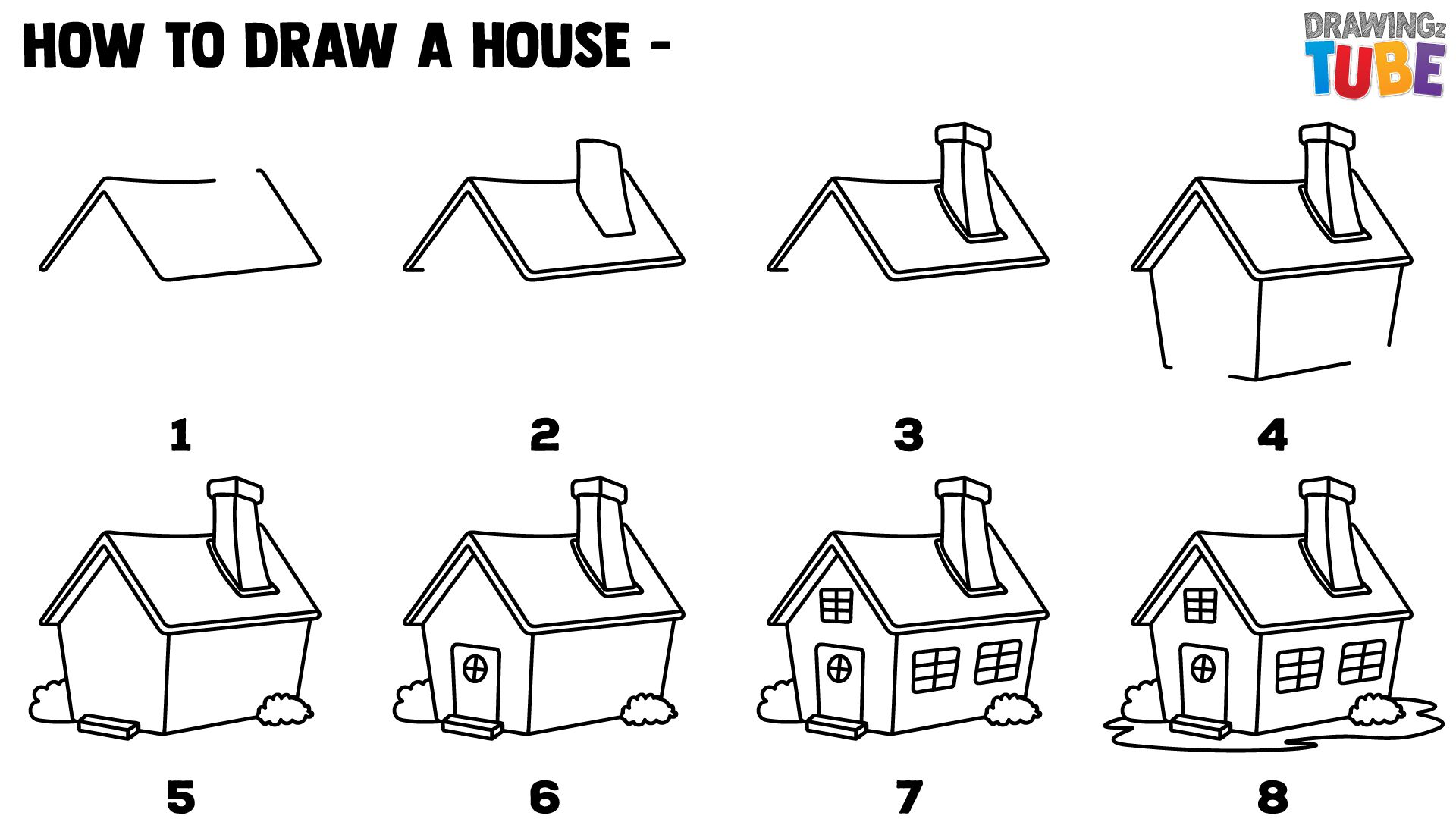 How To Draw A House Step By Step For Kids Easy
