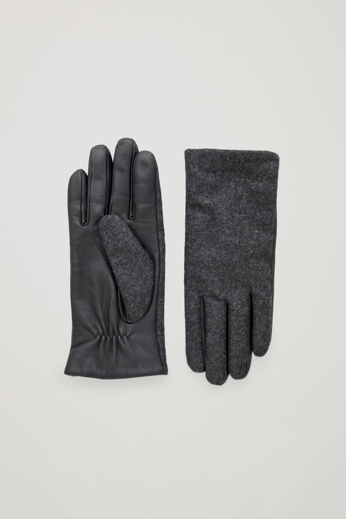fa6952e01fff4b LEATHER AND WOOL GLOVES - Dark Grey - Gloves - COS | Winter ...