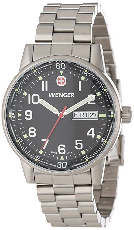 Wenger Men s 70163 Commando Day Date XL Black Dial Steel Bracelet Watch 1b96f4b14dc