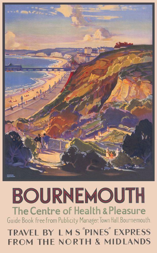 Vintage Southern Railways Bournemouth  Poster A3//A4 Print