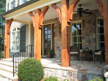 cedar post front porches 20328 timber porch posts home design photos - Front Porch Home Designs