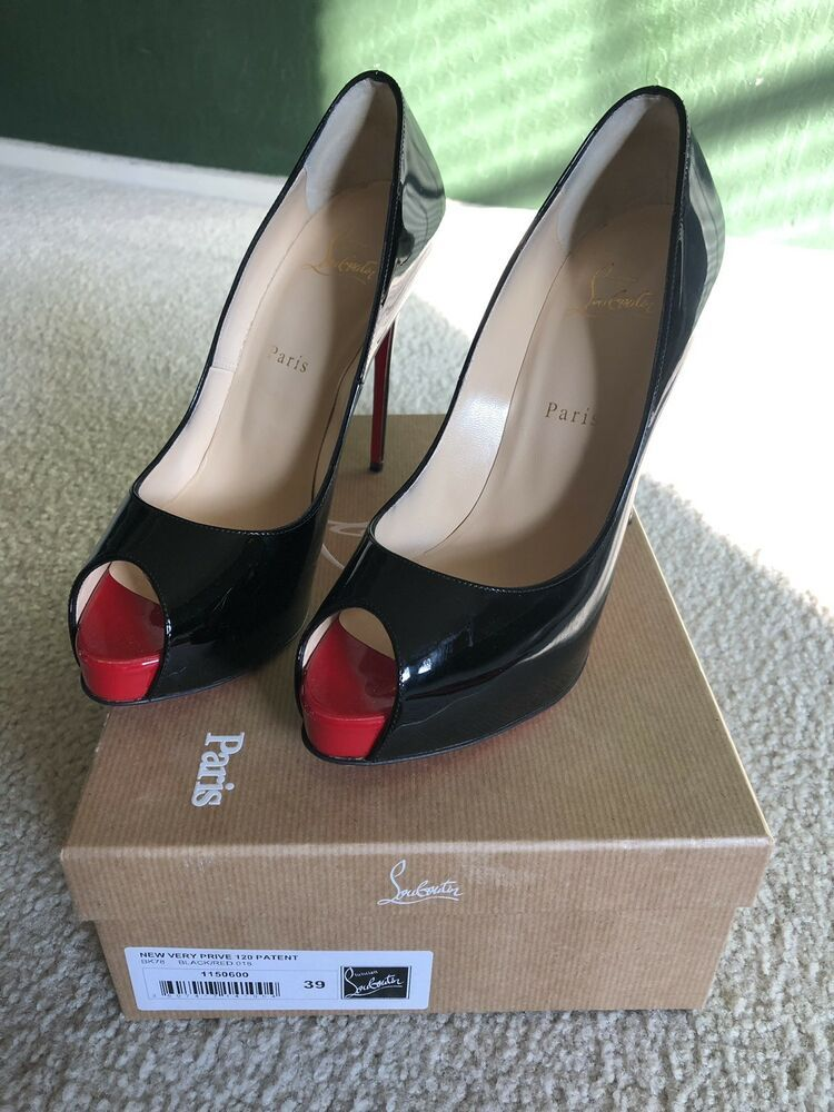 52cd2db99cf ENDING SOON  Christian Louboutin New Very Prive Black Red 39 US Size 8.5   shoes  designer