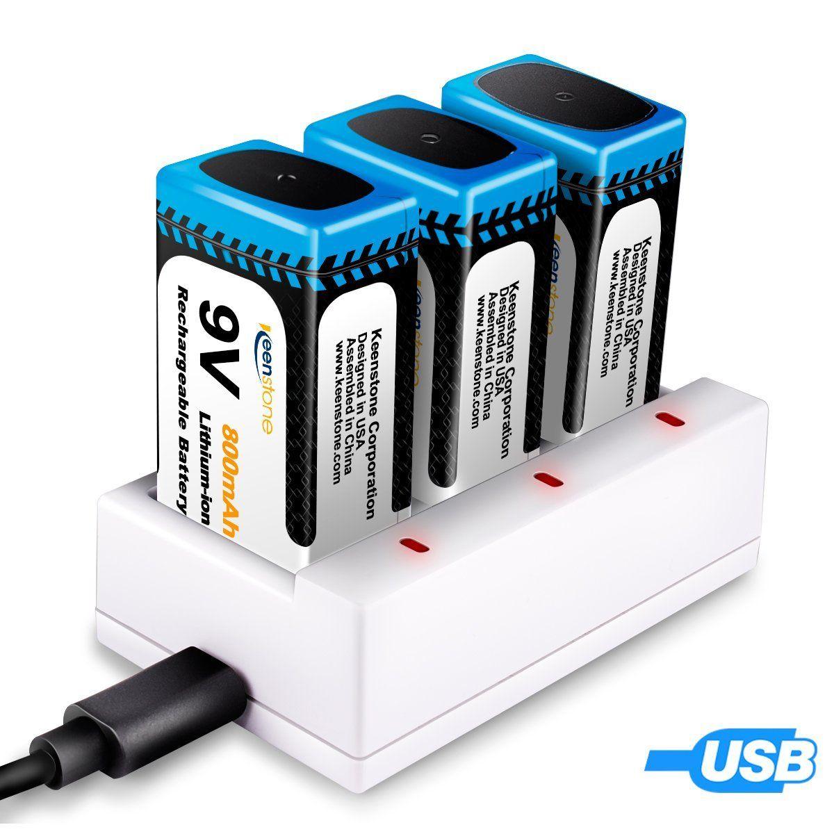 Keenstone 9V PP3 800mAh Piles Rechargeables Li Ion Chargeur Avec 3  Compartiment De Charge